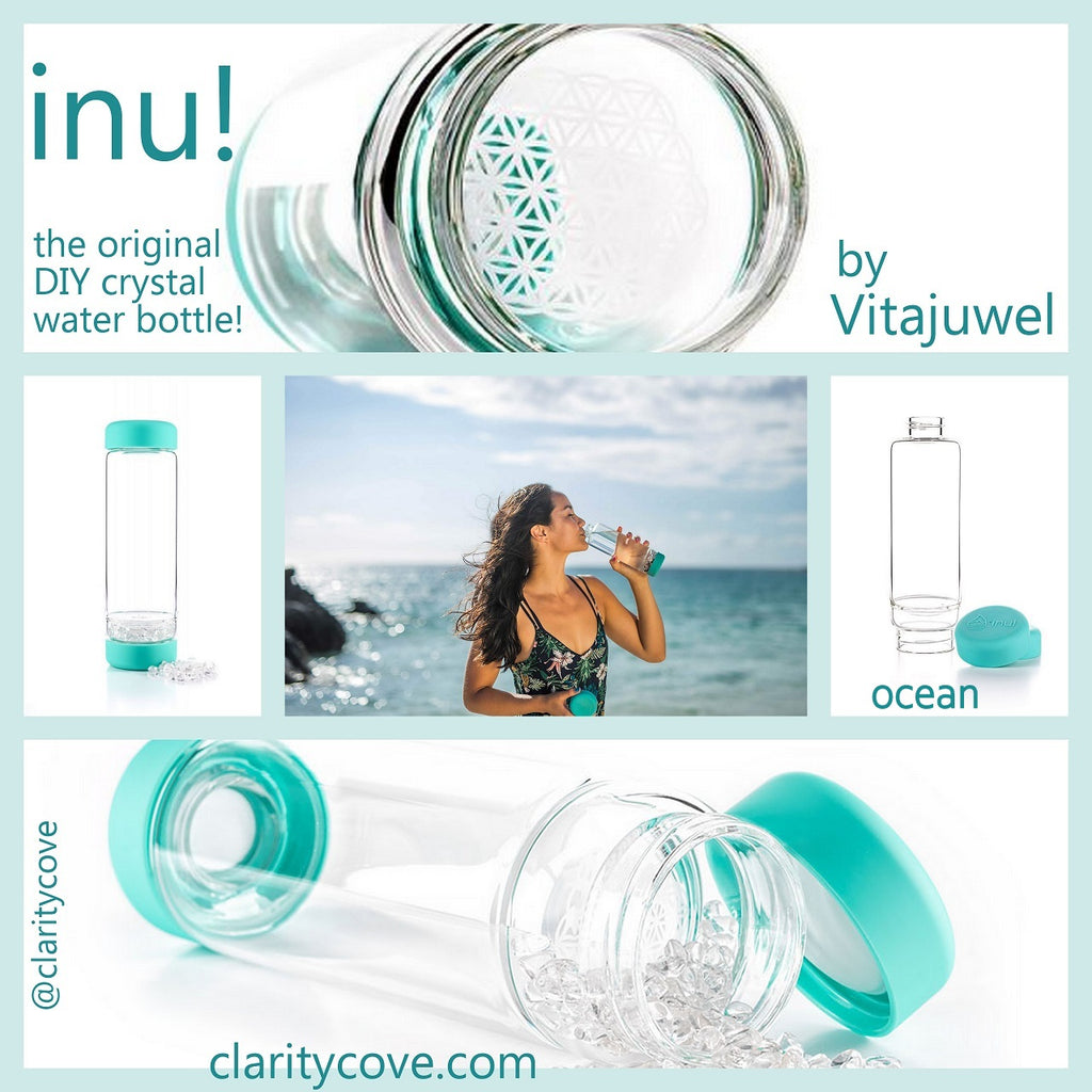 INU The New Vitajuwel DIY Glass Gem Water Bottle with Clear Quartz Crystals - claritycove.com