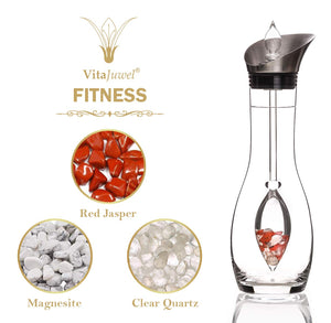 Vitajuwel Era Decanter with FITNESS Gemstone Vial. Glass Gemwater Carafe Pitcher Strength - claritycove.com