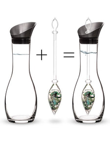 Vitajuwel Era Decanter with VITALITY Gemstone Vial. Glass Gemwater Carafe Pitcher Emeralds - claritycove.com