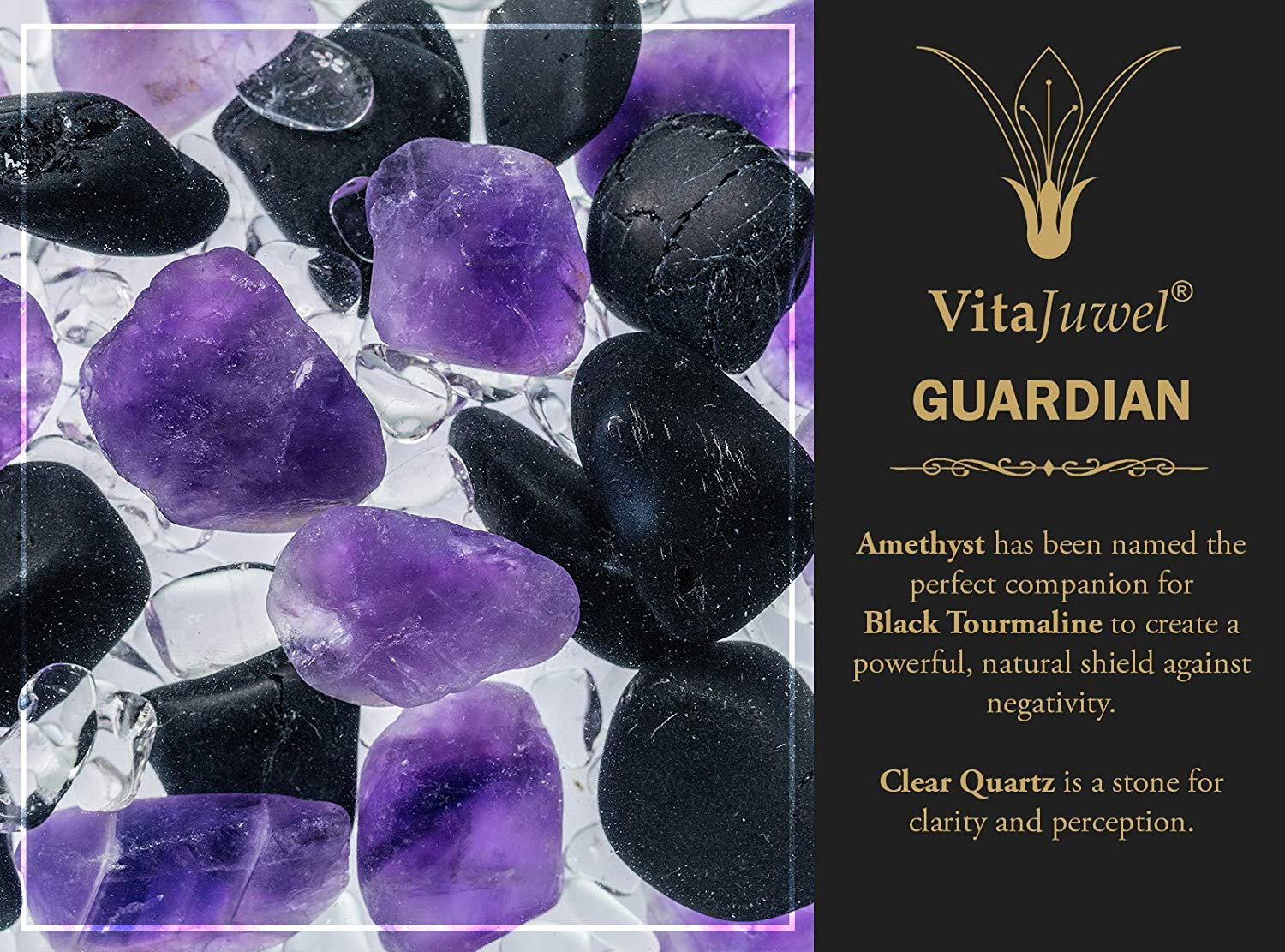 Vitajuwel Era Decanter with GUARDIAN Gemstone Vial. Glass Gemwater Karaffe Pitcher Protection - claritycove.com