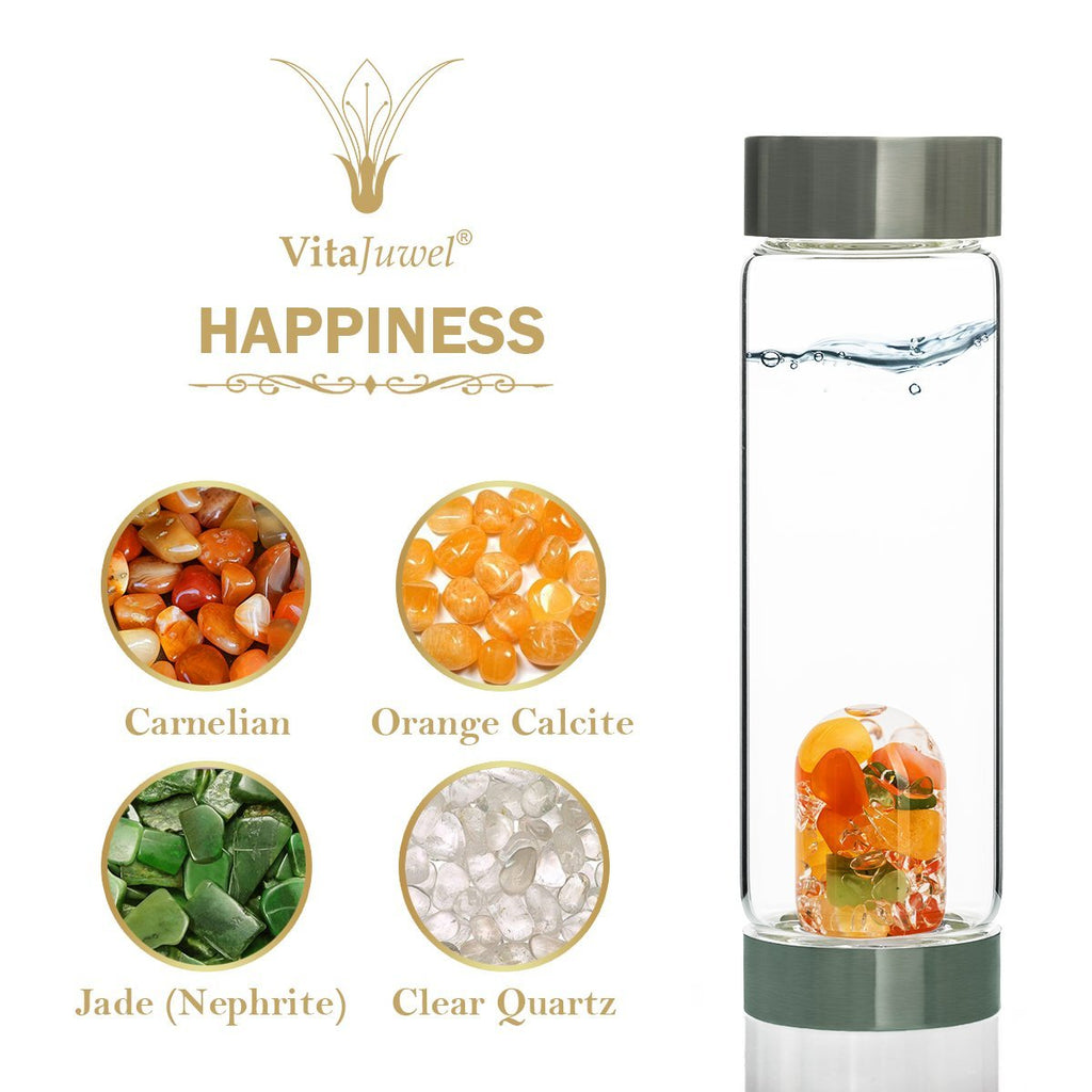 Vitajuwel ViA Gemwater Bottle HAPPINESS Blend with LOOP Handle Carnelian Orange Calcite - claritycove.com