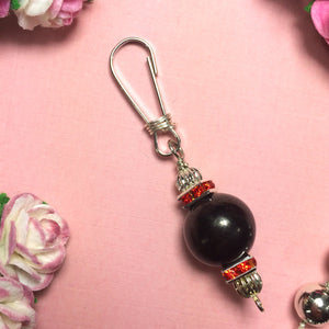 Shungite n Red Rhinestone Crystal Dog Cat Collar Charm EMF Shield Protection Junie's Jems - claritycove.com