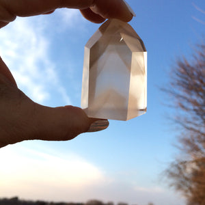 Phantom Quartz Tower Cut Polished Brazilian Quartz Crystal Ghost Quartz Reiki Healer 120g - claritycove.com
