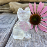 "Carved Quartz Crystal Gemstone Kitty Cat Figurine 2"" Spirit Animal Gift - claritycove.com"