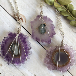Lavender Amethyst Crystal Stalactite Slice Pendant Necklace. Sterling Silver Filled Wire Wrapped - claritycove.com