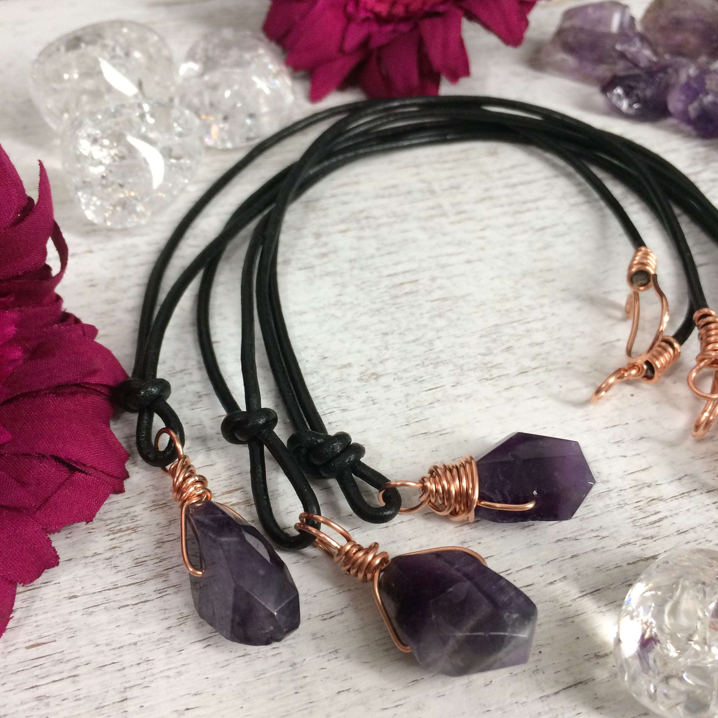 Amethyst & Leather Pendant Choker Necklace. February Birthstone Mens or Womens - claritycove.com