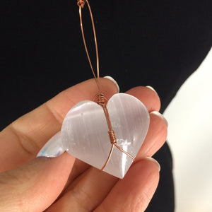 Selenite Crystal Heart Pendant Necklace. 2020 Love and Light Collection. Valentine Gift - claritycove.com