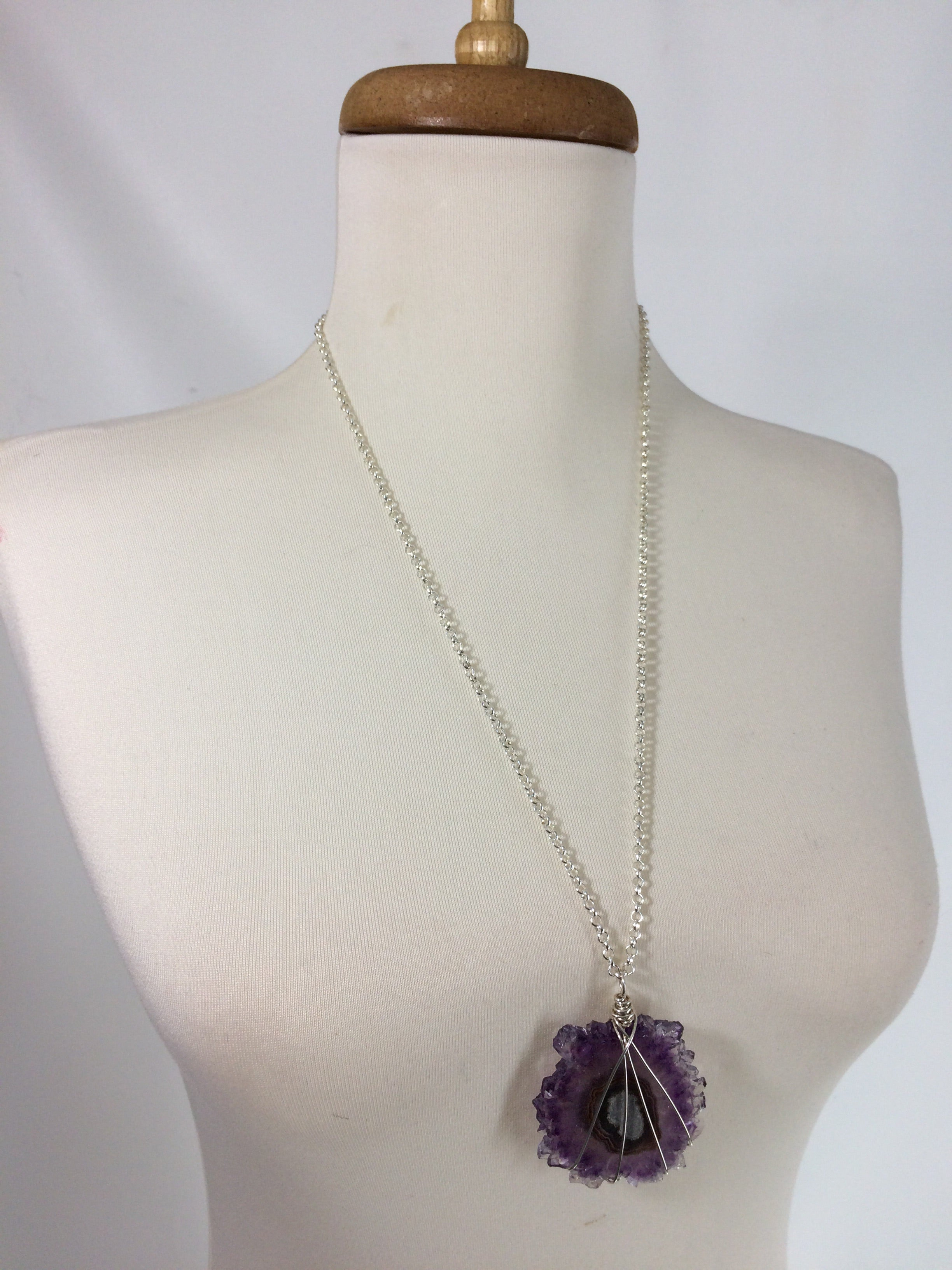 Handmade Sterling Silver Filled Wire Wrapped Amethyst Stalactite Slice Flower Pendant Necklace - claritycove.com