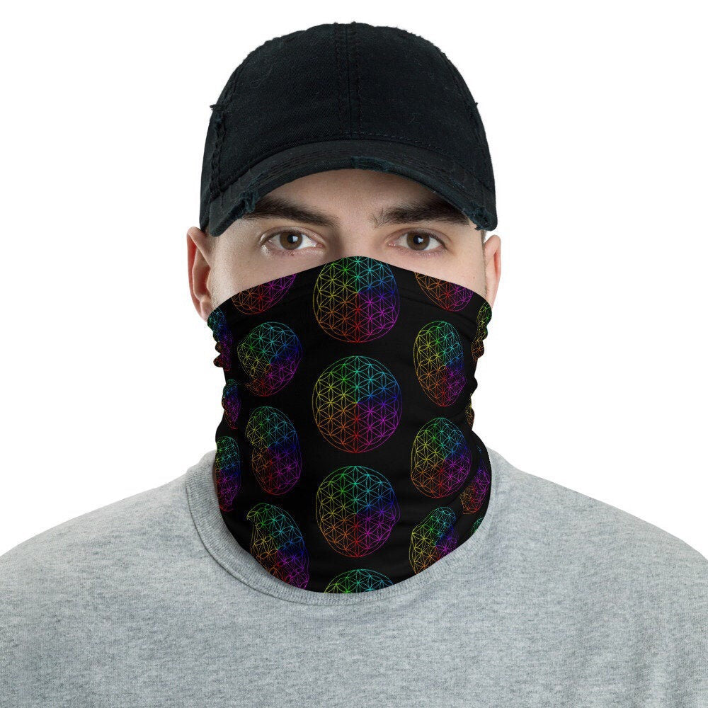 Black Rainbow Flower of Life Face Mask Sacred Geometry Neck Gaiter Headband - claritycove.com