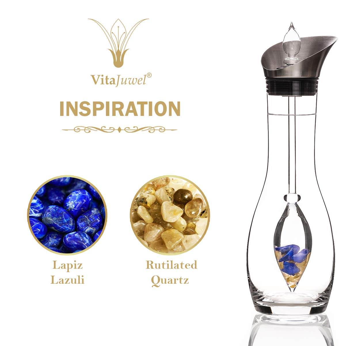 Vitajuwel Era Decanter with INSPIRATION Gemstone Vial. Gemwater Carafe Pitcher. Lapis - claritycove.com