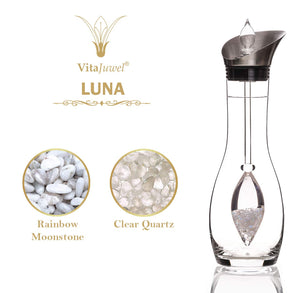 Vitajuwel Era Decanter with LUNA Gemstone Vial. Glass Gemwater Carafe Pitcher Moon Energy - claritycove.com