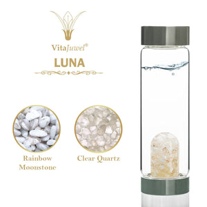 Vitajuwel Via GemWater Bottle~LUNA Blend Rainbow Moonstone & Clear Quartz w/ LOOP Cap - claritycove.com