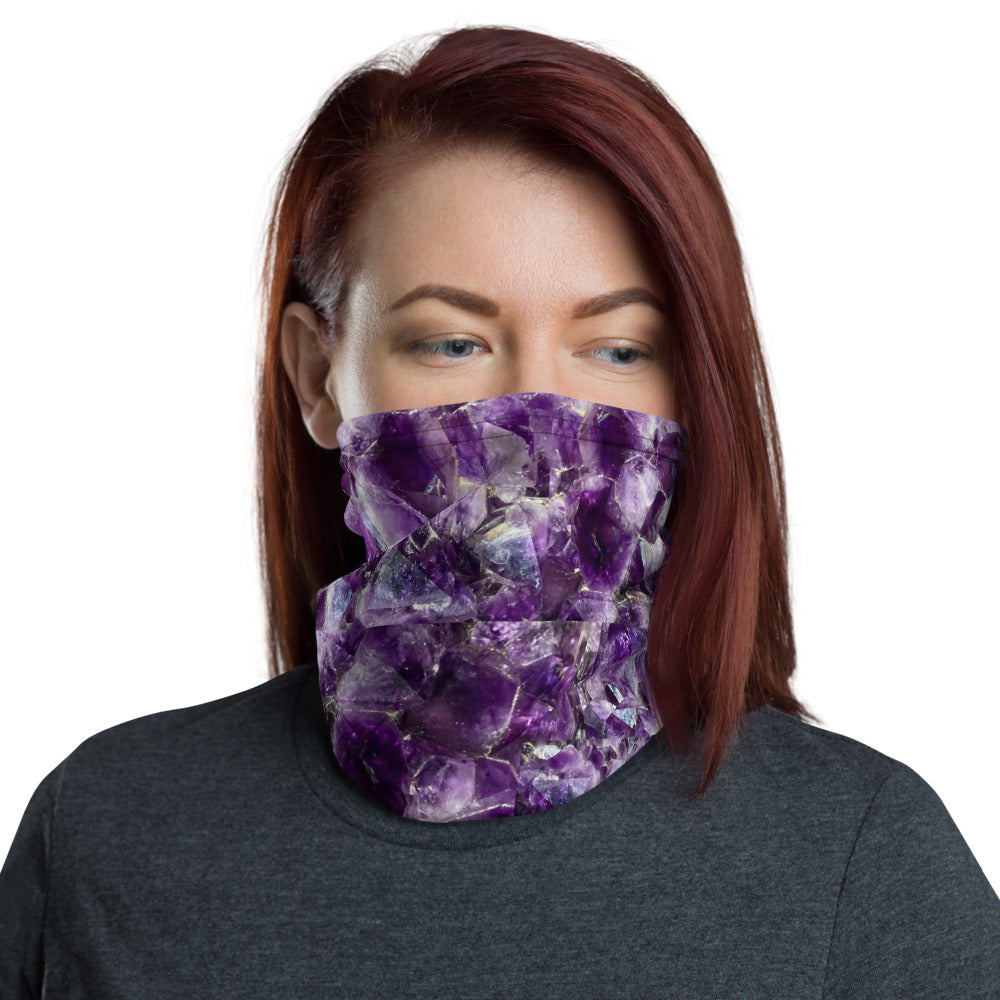 Purple Amethyst Crystal Neck Gaiter Face Mask Headband Ear Warmer Scarf Multi-Use - claritycove.com