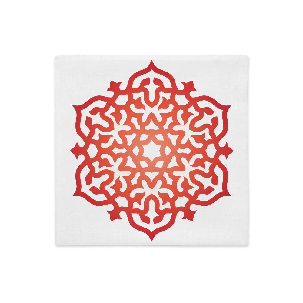 Red Orange Mandala Print Premium Throw Pillow Cover High Vibe Boho Home Decor - claritycove.com