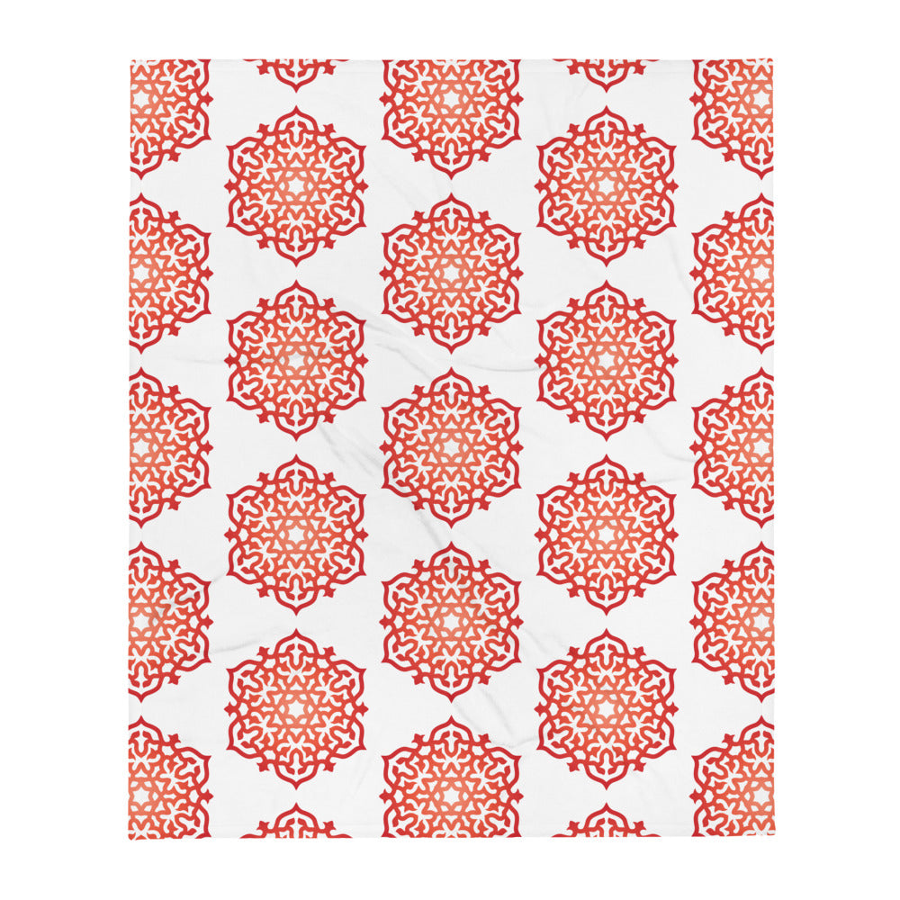 Red Orange Mandala Meditation Savasana Yoga Throw Blanket High Vibe Home Decor - claritycove.com