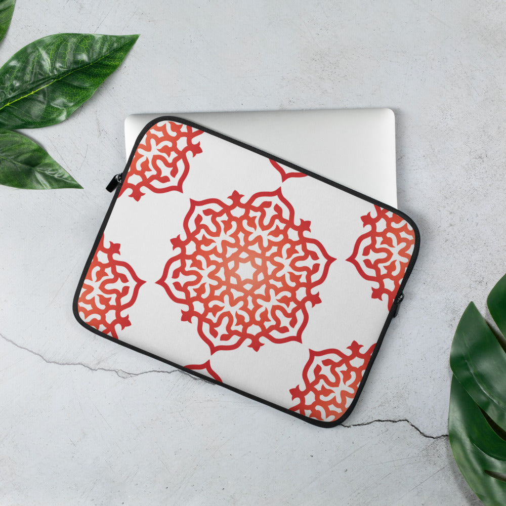 "Red Orange High Vibe  Mandala Print Laptop Sleeve 13"" and 15"" by Clarity Cove - claritycove.com"