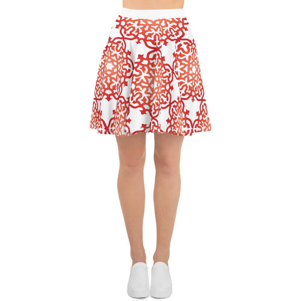 Red Orange Ombre Mandala Flower Circle Skater Skirt S-3X - claritycove.com