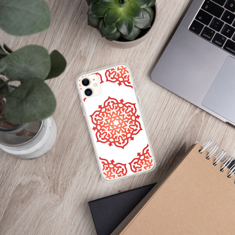 Red Orange Mandala Meditation iPhone Case by Clarity Cove - claritycove.com