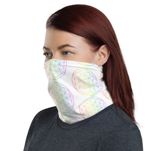 White Rainbow Flower of Life Face Mask Neck Gaiter Stretchy Headband - claritycove.com