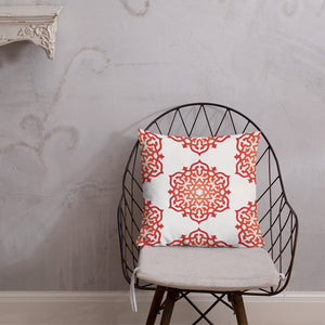 Red Orange Geometric Mandala Premium Throw Pillows Square and Rectangular - claritycove.com