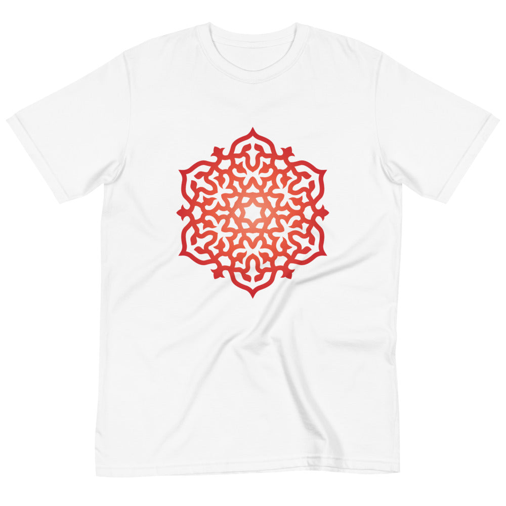 Highest Vibe Organic Cotton Red Orange Mandala Meditation T-Shirt White or Black S-2X - claritycove.com