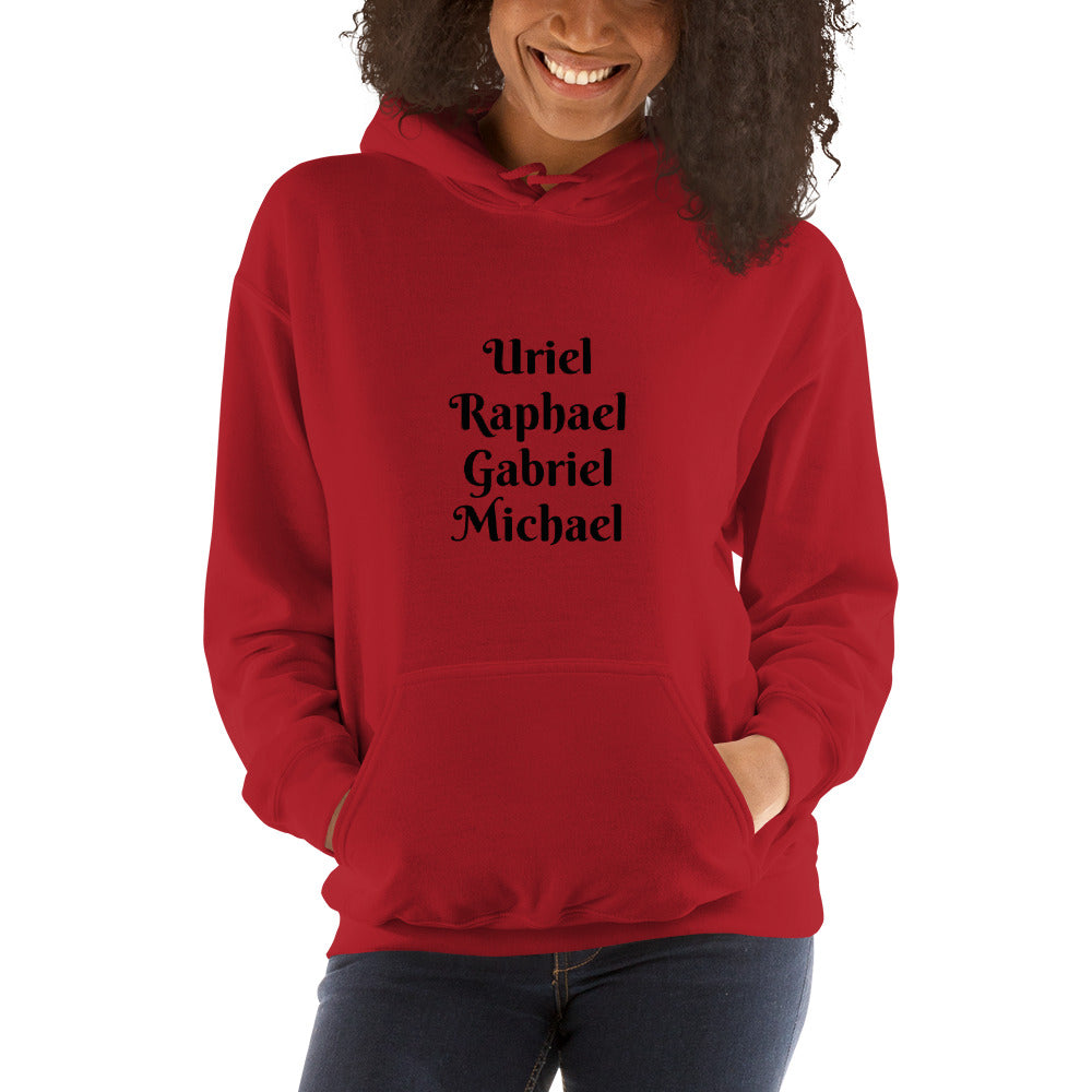 Archangels Uriel Raphael Gabriel Michael Hooded Pullover Sweatshirt Hoodie Red or White - claritycove.com