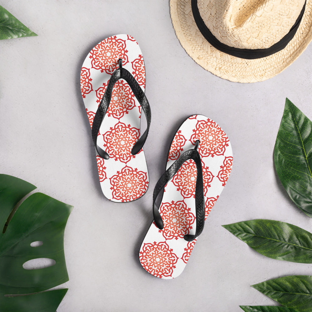 Red Orange Ombre Mandala Meditation Flip-Flops - claritycove.com