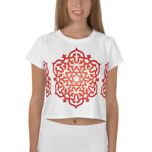 Red Orange Mandala Meditation All-Over Print Crop Top Tee XS-3XL - claritycove.com