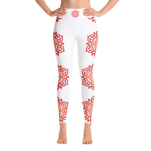 Red Orange Mandala Meditation Yoga Pants Leggings XS - XL - claritycove.com