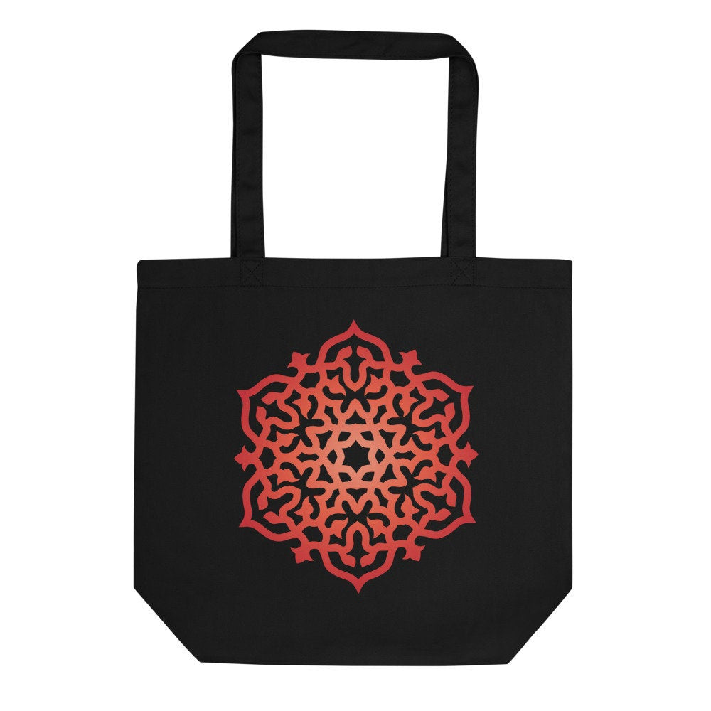 Organic Cotton High Vibe Red Orange Mandala Print Reusable Eco Tote Bag Khaki Black - claritycove.com
