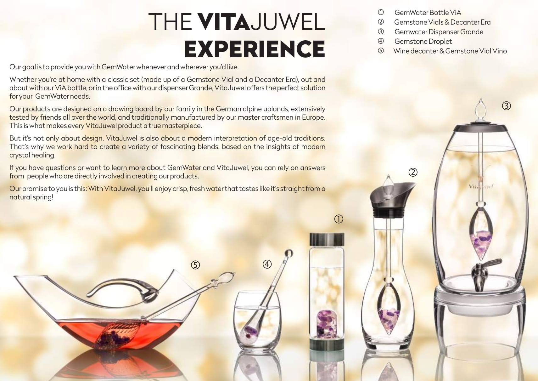 Vitajuwel Era Decanter with WELLNESS Gemstone Vial. Glass Gemwater Carafe. Amethyst Water - claritycove.com