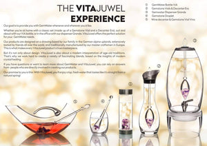 Vitajuwel Era Decanter with BALANCE Gemstone Vial. Glass Gemwater Carafe Communication - claritycove.com