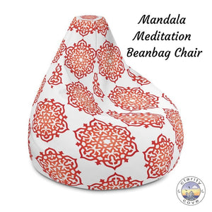 Red Orange Mandala Meditation Bean Bag Chair ~ High Vibe Boho Home Decor - claritycove.com