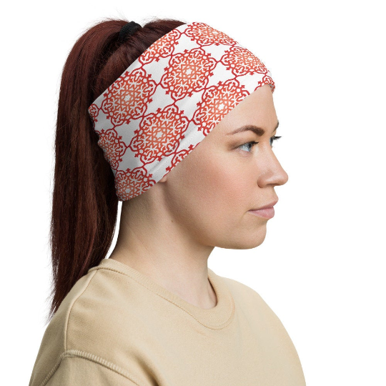 Red Orange Ombre Mandala Neck Gaiter Face Mask Stretch Headband - claritycove.com