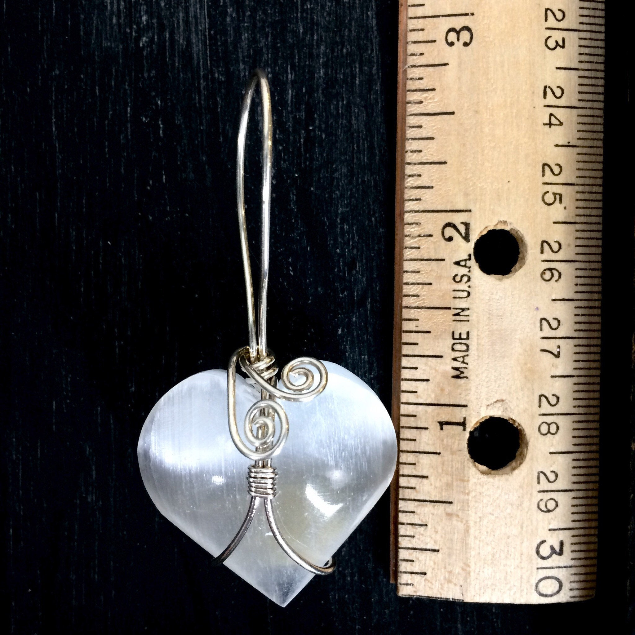 Sterling Silver Filled White Selenite Crystal Heart Pendant Necklace 2019 Love n Light Collection - claritycove.com