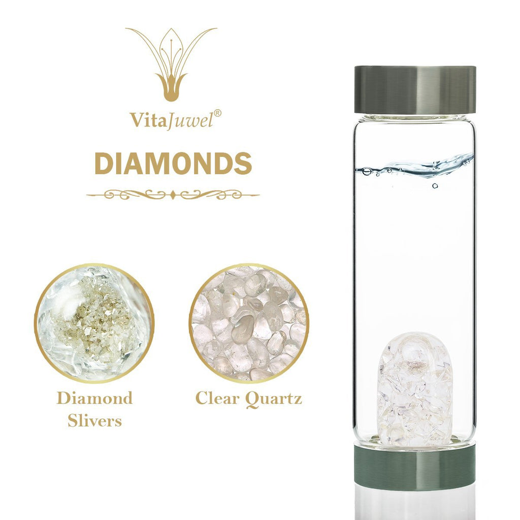Vitajuwel ViA GemWater Bottle~DIAMONDS Blend~Divine Energy Luxury~ with Loop Handle - claritycove.com
