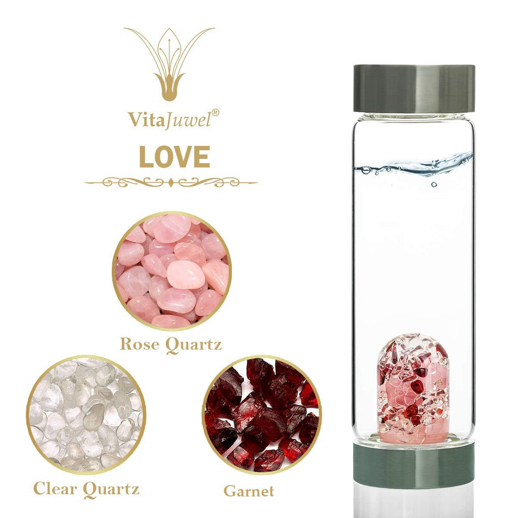 LOVE Vitajuwel ViA GemWater Bottle~LOVE Blend~Garnet, Rose Quartz, Clear Quartz Crystal - claritycove.com