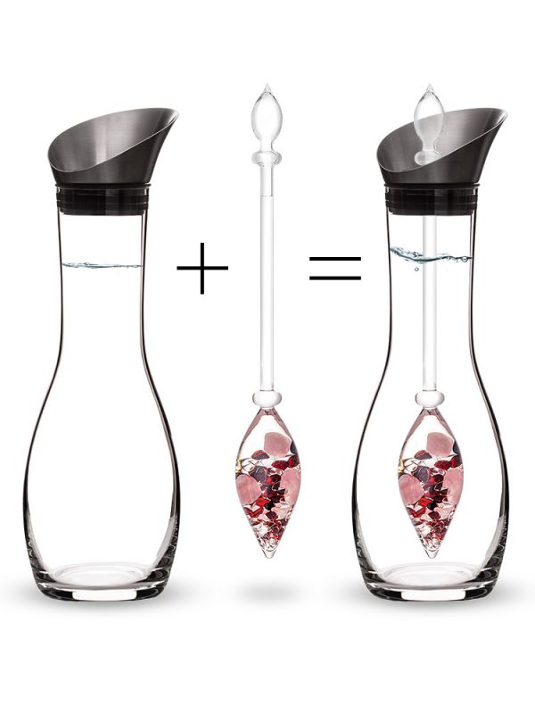 Vitajuwel Era Decanter with LOVE Gemstone Vial. Glass Gemwater Carafe Pitcher - claritycove.com