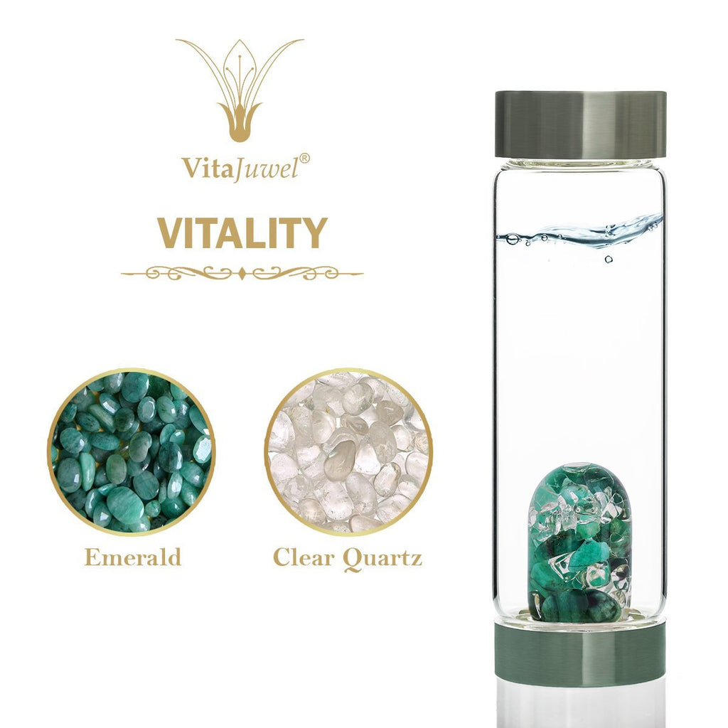 Vitajuwel ViA Gemwater Bottle VITALITY Blend with LOOP Handle Emerald Quartz Renewal - claritycove.com