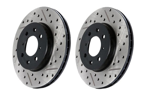 StopTech 03-05 350Z / 03-04 G35 / 03-05 G35X SportStop Slotted & Drilled Rear Left Rotor - 127.42077L
