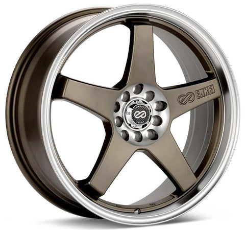Enkei EV5 17x7 5x105/110 38mm Offset 72.6 Bolt Diameter Hyper Black w/ Machined Lip Wheel - 446-770-5238HB