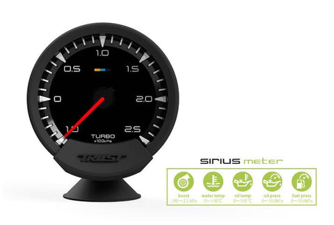 GReddy Sirius Meter - Turbo Boost 74mm Analog Display Gauge (w/Boost Sensor & Harness Set) - 16001730