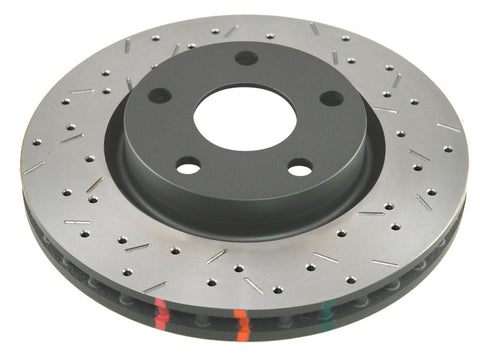DBA 97-04 Corvette C5/C6 Front Drilled & Slotted 4000 Series Rotor (w/ Black Hub) - 42994BLKXS