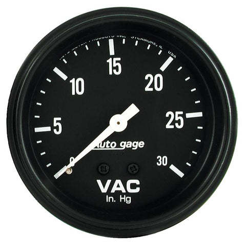 Autometer AutoGage 2-5/8in. / 0-30 IN HG / Mechanical Full Sweep Vacuum Gauge - 2317