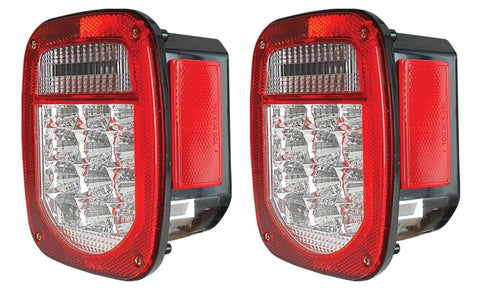 ANZO 1976-1985 Jeep Wrangler LED 2 Lens - Red/Clear, Chrome - 861082