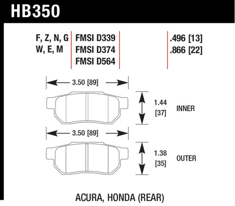 Hawk 90-01 Acura Integra (excl Type R) / 98-00 Civic Coupe Si Blue 9012 Race Rear Brake Pads - HB350E.496