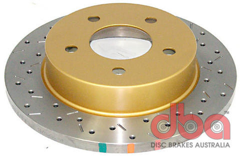 DBA 94-04 Mustang Exc. Cobra/Bullitt/Mach1 Rear Drilled & Slotted 4000 Series Rotor - 4856XS