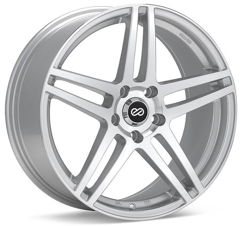Enkei RSF5 17x7.5 38mm Offset 5x105 Bolt Pattern 72.6mm Bore Dia Silver Machined Wheel - 479-775-3238SM