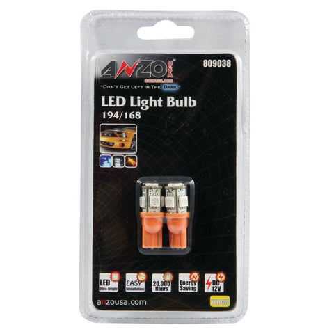 ANZO LED Bulbs Universal 194/168 Amber - 5 LEDs - 809038