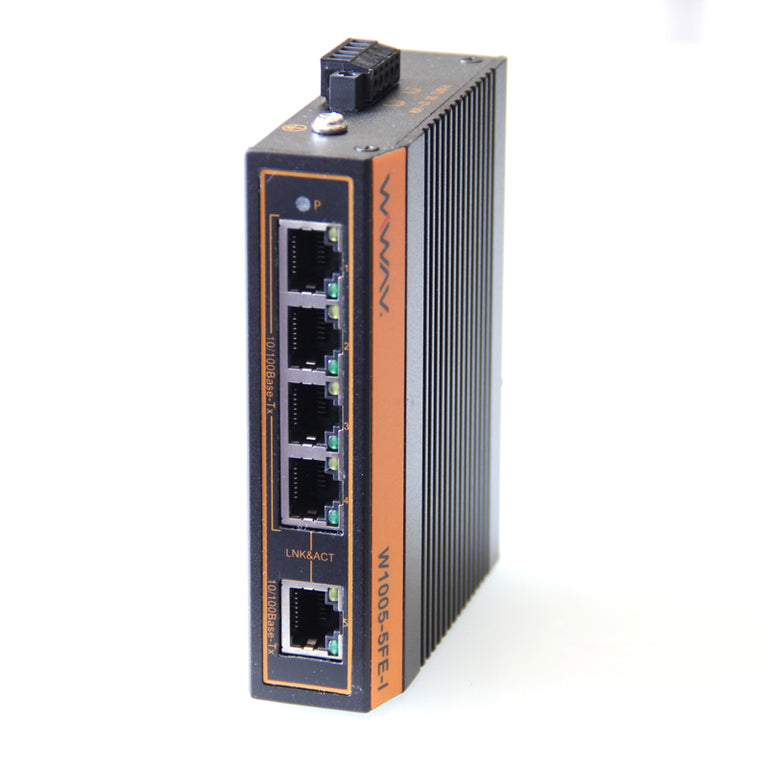 W1005-5FE-I 10/100Mbps 5-Port Industrial Ethernet Switches with DIN Rail/Wall-Mount (UL Listed, Fanless, -40°C~85°C)